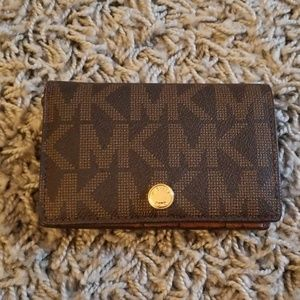 Michael Kors bifold wallet in brown and gold